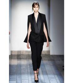 Victoria Beckham - Blazer mantella con revers in satin -