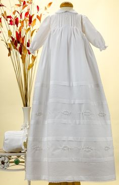 Pretty Originals Style BD285 White Long Sleeve Cotton Christening Gown & Bonnet