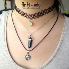 Artilady Layer Tattoo Choker Necklace Vintage Hippy Stretch Quarz Necklace Elastic Henna Retro Gothic Punk Elastic Women Jewelry