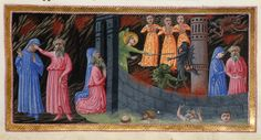 Detail of a miniature of Virgil holding Dante's eyes to prevent him seeing the Gorgon pass, and Virgil and Dante entering the city of Dis, in illustration of Canto IX. Dante and Virgil - from The Divine Comedy Dante Alighieri, Fra Angelico, Dantes Inferno, Library Catalog, British Library, Illuminated Manuscript, African Art, Art History, Mythology