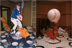 Baseball Bar Mitzvah Centerpieces by Life O' The Party - mazelmoments.com