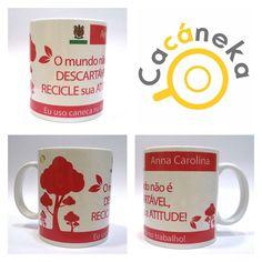 Caneca personalizada Cacáneka cacaneka empresa clube curitibano uso caneca no trabalho