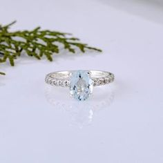 Halo Aquamarine Ring 6x8mm Emerald Cut Aquamarine Ring Solid | Etsy Emerald Cut Aquamarine Ring, Emerald Cut Rings, Halo Diamond, Aquamarine Jewelry, Handmade Engagement Rings, Gemstone Engagement Rings, Perfect Engagement Ring, Diamond Exchange, Pave Ring