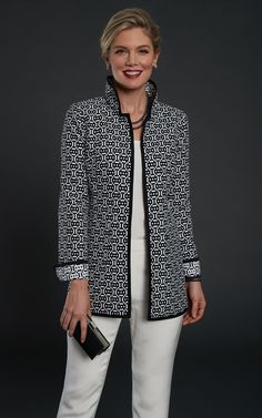 13293 Geometric Switchboard Reversible Car Coat With silver threads woven into both sides, this car coat dazzles everyone! You can wear it B/W or W/B Stylish Tops For Women, Coats For Women, Jackets For Women, Clothes For Women, Chanel Style Jacket, Jacket Style, 60 Fashion, Fashion Outfits, Womens Fashion