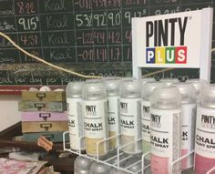 Pintyplus chalk paint spray display.