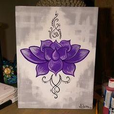 FOR SALE - Original Lotus Canvas Art #artist #painting #acrylic #11x14 #lotus…