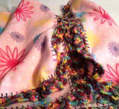 Pink Flower Power Crochet Edge Fleece by MonaSewingTreasures.