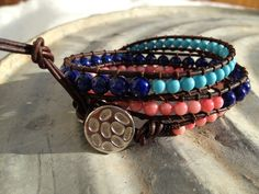Lapis, turquoise and pink coral leather wrap bracelet