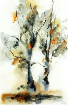 Tree Painting Art Print 12x18'' - Watercolor Painting - Watercolor Art - NAture - Brown - Abstract - Modern Art
