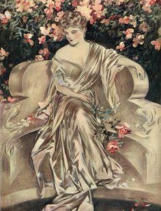 #henry #hutt #Rose #Garden #antique #vintage #edwardian #victorian #bookplate #color #Print #Beautiful #woman #garden #bench #dress #gown #costume #oakwoodview #evt by OakwoodView