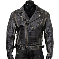 Men/'s Khaki BRANDO Classic HIGHWAY Motorcycle Biker Cowhide Real Leather Jacket