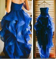 Blue High Low Prom Dresses,Cute Ruffle Homecoming Dresses,Cocktail Dresses #promdresses #SIMIBridal
