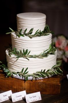 Simple Three Tier Wedding Cake with Greenery Rings