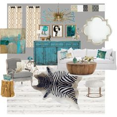 Gold, Gray and Turquoise Living Room - Polyvore