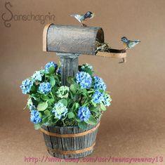 OOAK Dollhouse Miniature Pet Red Robin Birds Mailbox Hydrangeas 1 12 Handmade   eBay
