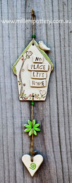 Australian handmade ceramic house mobile by www. - - Australian handmade ceramic house mobile by www. Pottery Houses, Ceramic Houses, Clay Houses, Clay Wall Art, Clay Art, Polymer Clay Crafts, Diy Clay, Ceramic Decor, Ceramic Clay