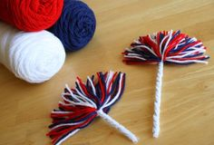 Fourth of July {Independence Day} Firework Yarn Pom Poms