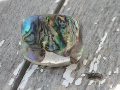 Size 6.75 Abalone Puau Shell Bubble Resin Ring by MonkeyNavigated, $19.00