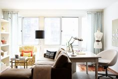 living room with desk behind couch - Bing Images Desk Behind Couch, Interior, Home, Room Desk, Small Apartment Living, Small Space Living Room, Desk In Living Room, Small Space Living, Home And Living