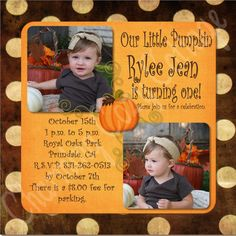 Fall Birthday Party Invite Harvest Birthday Party, Pumpkin Birthday Parties, Thanksgiving Birthday, 2nd Birthday Parties, Birthday Party Invitations, Harvest Party, Invites, Birthday Ideas, October Birthday
