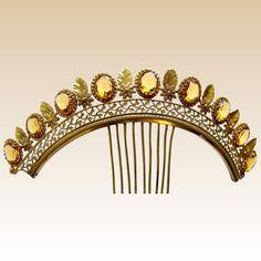 Regency fire gilded tiara comb faux topaz glass hair accessory