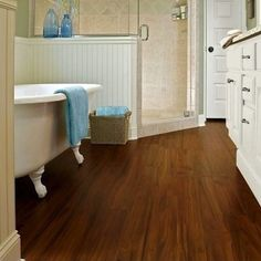 Using a waterproof laminate flooring is very recommended. So, what are the best waterproof laminate flooring that you can get? Here is the list waterproof laminate floor. Laminate Flooring Bathroom, Bathroom Flooring Options, Waterproof Laminate Flooring, Wood Floor Bathroom, Wood Tile Floors, Plank Flooring, Flooring Ideas, Bathroom Ideas, Downstairs Bathroom
