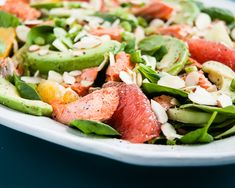 Heart Healthy Citrus-Avocado Salmon Salad Recipe - Cafe Johnsonia (I'll definitely be making this without the salmon!)
