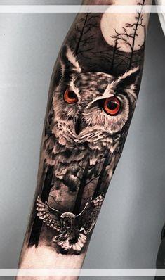 Arm Sleeve Tattoos, Forearm Tattoos, Cool Tattoos, Realistic Owl Tattoo, Mens Owl Tattoo, Owl Tattoo Drawings, Anime Zodiac, Mythology Tattoos, Owl Photos