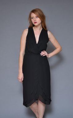 1b4da0c83542 Items similar to 70s TIERED petal little black dress    sheer gauzy lbd  minimal mod ruffle draped deep v banded high waist dressy silky midi dress  on Etsy