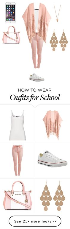 """""""School"""" by pysaralina on Polyvore featuring Pieces, MICHAEL Michael Kors, Polo Ralph Lauren, H&M, Converse, Pamela Love and Irene Neuwirth"""