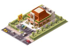 Vector isometric pizzeria by tele52 on Creative Market