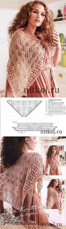 Ажурная шаль спицами Egypto lace shawl » Ниткой - вязаные вещи для вашего дома, вязание крючком, вязание спицами, схемы вязания