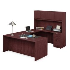 Solutions U-Desk with Right Bridge and Hutch - NBF Signature Series | National Business Furniture
