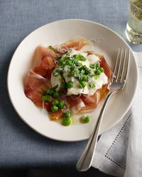 Burrata with Speck, Peas and Mint // More Cheese Dishes: http://www.foodandwine.com/slideshows/cheese #foodandwine