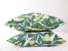 Tropical Pillow Leaves Green Yellow Colorfull Bright by Miauss