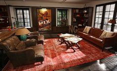 """Dave and Bryan's living room on """"The New Normal"""". Great use of pattern and color."""