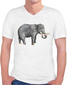 Sanatçı fil Kendin Tasarla - Erkek V Yaka Tişört