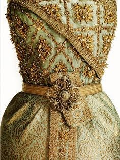 """fripperiesandfobs: """" Thai Chakri designed by Balmain for Queen Sirikit of Thailand, 1967 From the Queen Sirikit Museum of Textiles """""""