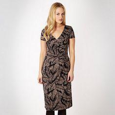Betty Jackson.Black Designer black feather printed wrap dress- at Debenhams.com £32.50