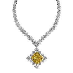 This diamond necklace from Jacob & Co features a 100.88ct Fancy Intense yellow diamond at its centre (POA).