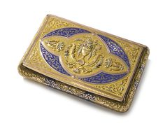 A German varicolor gold and enamel snuff box, Charles Colins Söhne, Hanau, circa 1825. -- Sotheby's