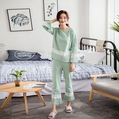 Casual Womens Sleepwear Pajama Set With Long Pants Loose Round Neck Woman Lingeries Solid Lace Underwear Best Pajamas, Girls Pajamas, Pajamas Women, Sleepwear Sets, Sleepwear Women, Night Suit For Women, Pants For Women, Girls Night Dress, Girls Short Dresses