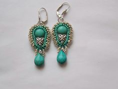 Bead embroidery earring OOAK Seed bead jewelry Turquoise by Vicus