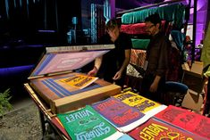 """Situated in the middle of the party space, the velvet station invited guests to interact with the material via various flocked items. They could also flock their very own Ray-Ban """"Smooth as Velvet"""" poster with the help of Brooklyn-based Kayrock Screenprinting.  Photo: Courtesy of Luxottica"""