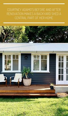 #modern tiny homes Courtney Adamo's Before and After Renovation Makes a Backyard Shed a Central Part of Her Home