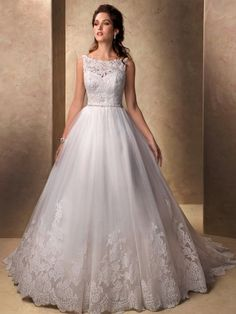 Ball Gown Bateau Sleeveless Applique Chapel Train Lace Wedding Dresses