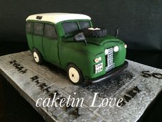 This is a 1964 Land Rover made out of fruit cake for Gary's 50th.
