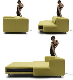From Italian furniture maker Campeggi. The WOW Sofa bed is completely automatic and can be converted from a sofa to a bed with just the push of a button.looks a lot more comfortable too Cool Furniture, Furniture Design, Sofa Design, Modular Furniture, Home And Deco, My Dream Home, Space Saving, Living Room, Tiny Living
