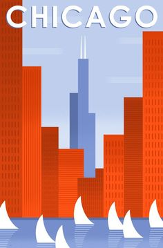 Bob Staake illustration - I would love a wall devoted to Chicago art like this. Retro Poster, Art Deco Posters, Vintage Travel Posters, Chicago Poster, Chicago Art, Chicago Illinois, Chicago Travel, Chicago Skyline, Illustrations Vintage