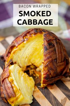 Bacon Wrapped Smoked Cabbage - This awesome Grill Recipes is the perfect for my family and friends! Traeger Recipes, Smoked Meat Recipes, Smoked Bacon, Pork Chop Recipes, Chicken Recipes, Venison Recipes, Bacon Recipes, Traeger Smoker, Veggies